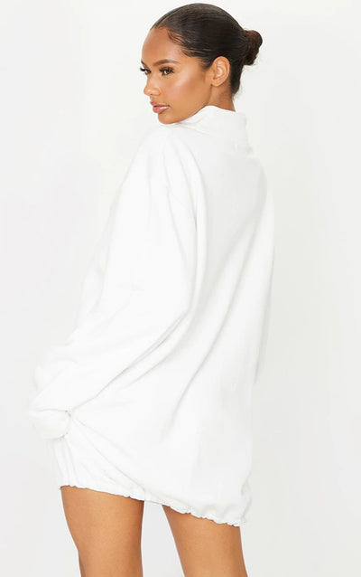 WHITE PLT EMBROIDERED LONG LENGTH FUNNEL NECK QTR ZIP SWEAT