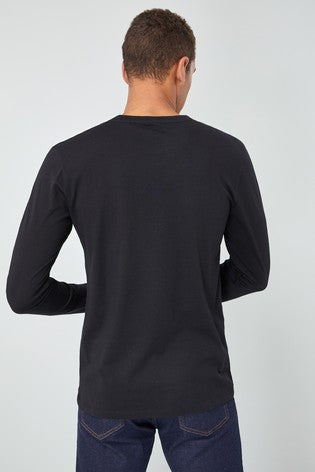 ORGANIC COTTON REGULAR FIT BLACK CREW-NECK SHIRT