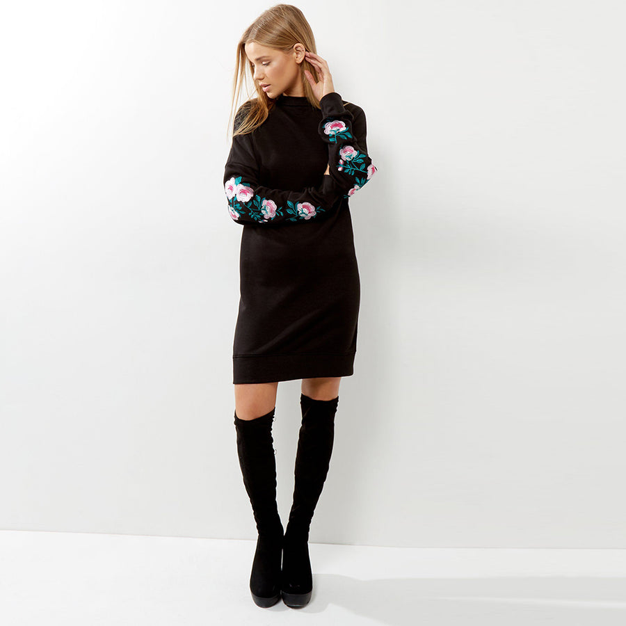 BLACK FLORAL EMBROIDERED SLEEVE JUMPER DRESS