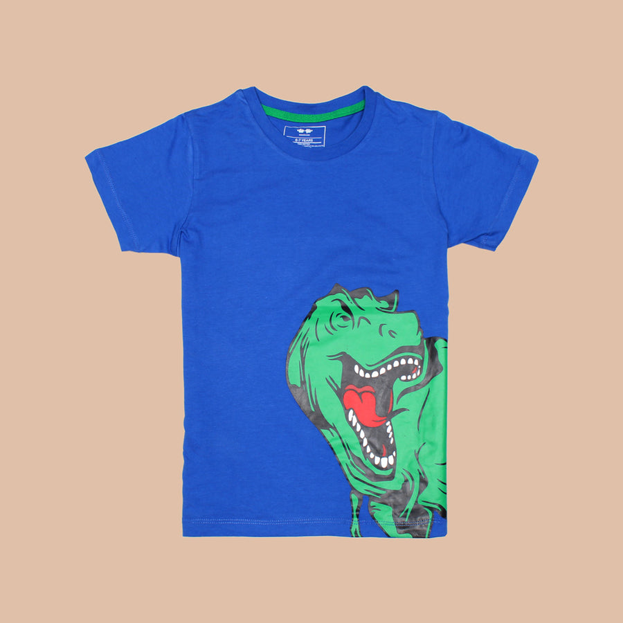 KHD Boys Green Dinosaur Regular Fit T-Shirt 100% Cotton