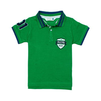 Khd Boys Green Regular Fit Shenile Embroidered Polo Shirt 100% Cotton - Big Brands | Small Prices | Exportbrands.pk