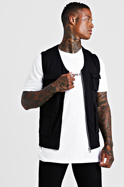 BOOHOOMAN COTTON TWILL  4 POCKETS UTILITY VEST