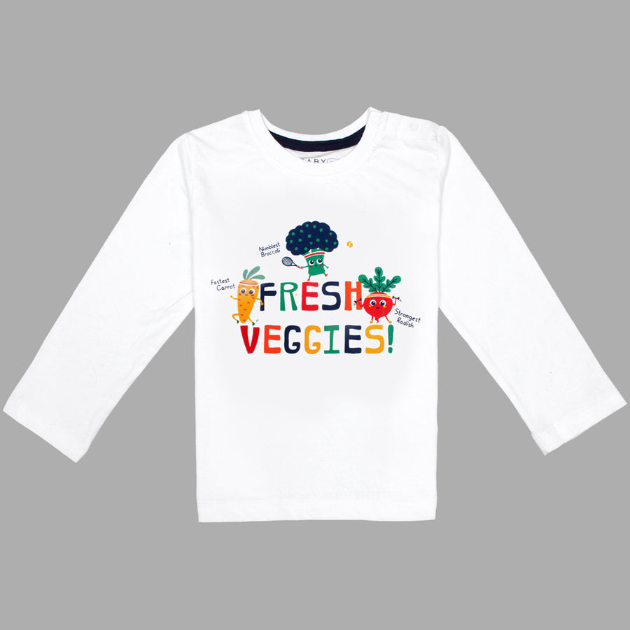 Baby Long Sleeves Fresh Veggies T-Shirt 100% Cotton