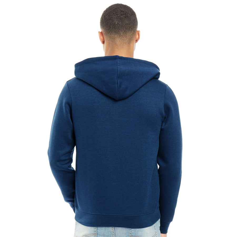 Fluid Men Blue Solid Hooded Zipper Sweatshirt
