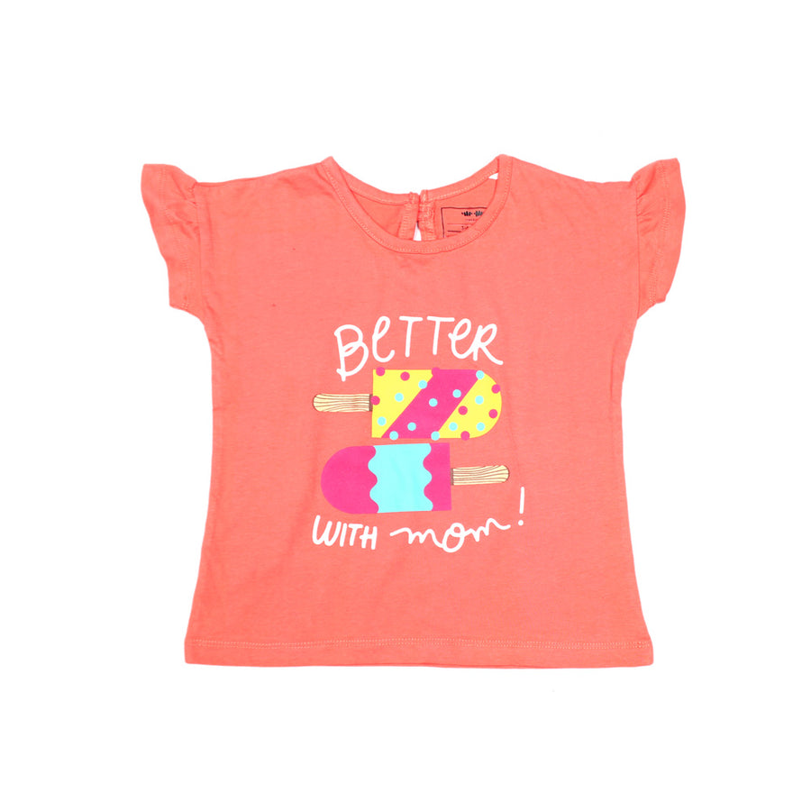 KHD Girls Pink Lime New Style Printed T-Shirt 100% Cotton - Big Brands | Small Prices | Exportbrands.pk