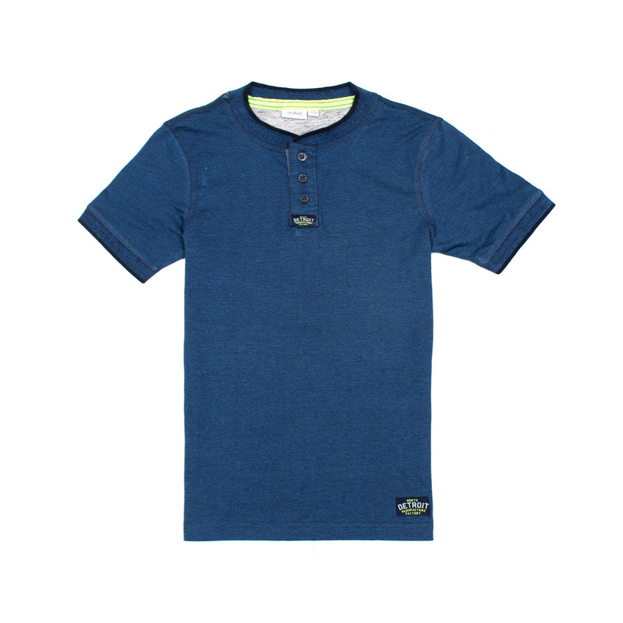 Blue Kids Boys Detroit Henley T-Shirt 100% Cotton
