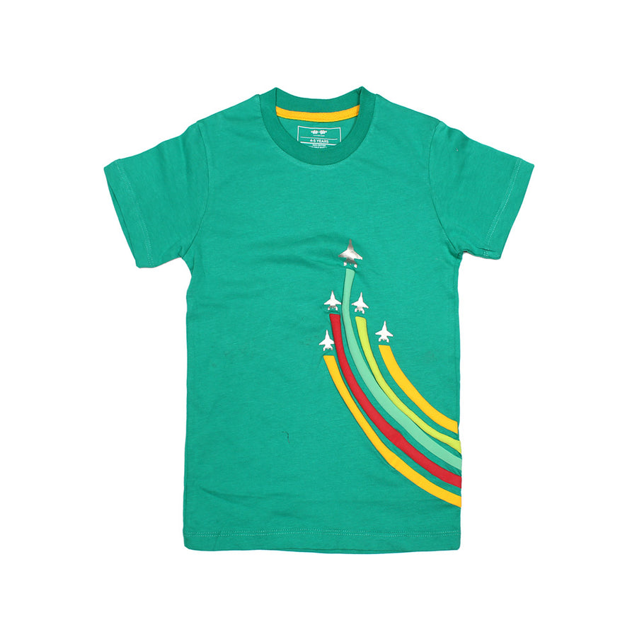 KHD Boys F-16 Rain Bow Regular Fit T-Shirt 100% Cotton