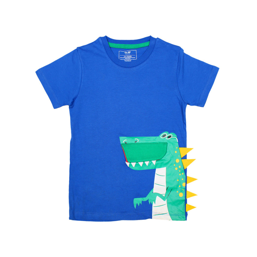 KHD Boys Blue Regular Fit T-Shirt 100% Cotton