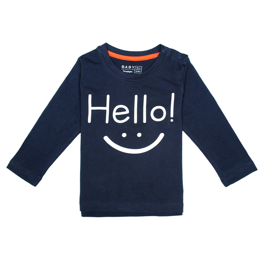 Baby Long Sleeves Navy Blue T-Shirt 100% Cotton
