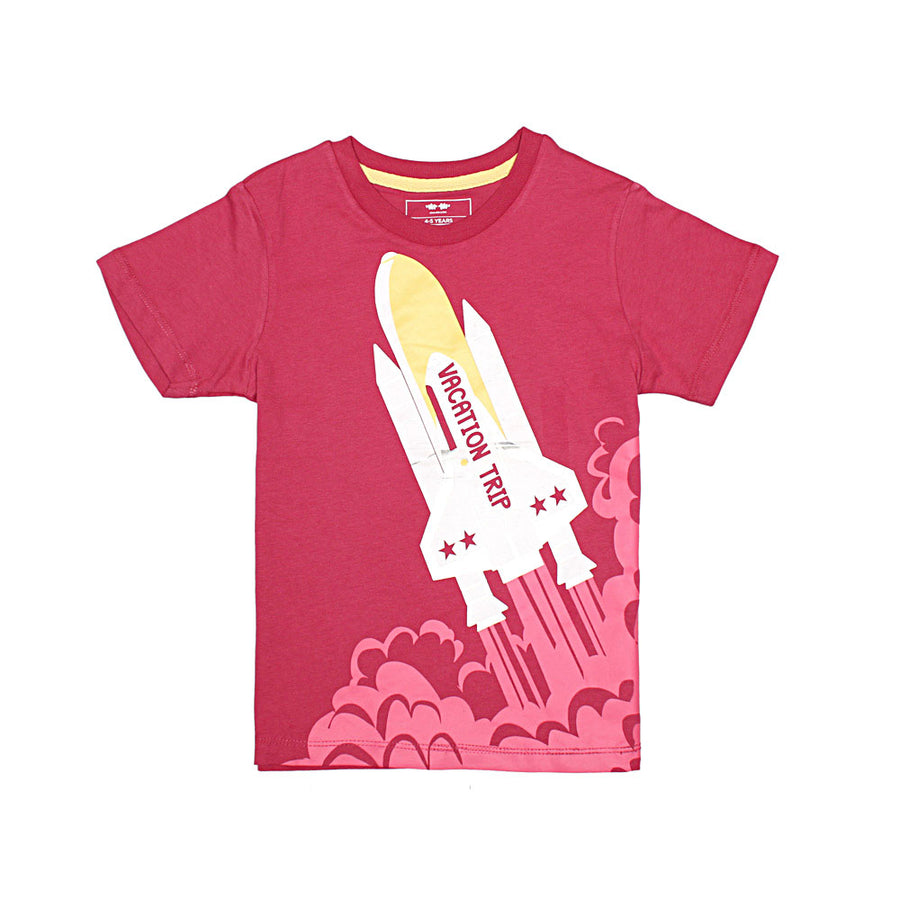 KHD Boys Space Vacation Trip Regular Fit T-Shirt 100% Cotton