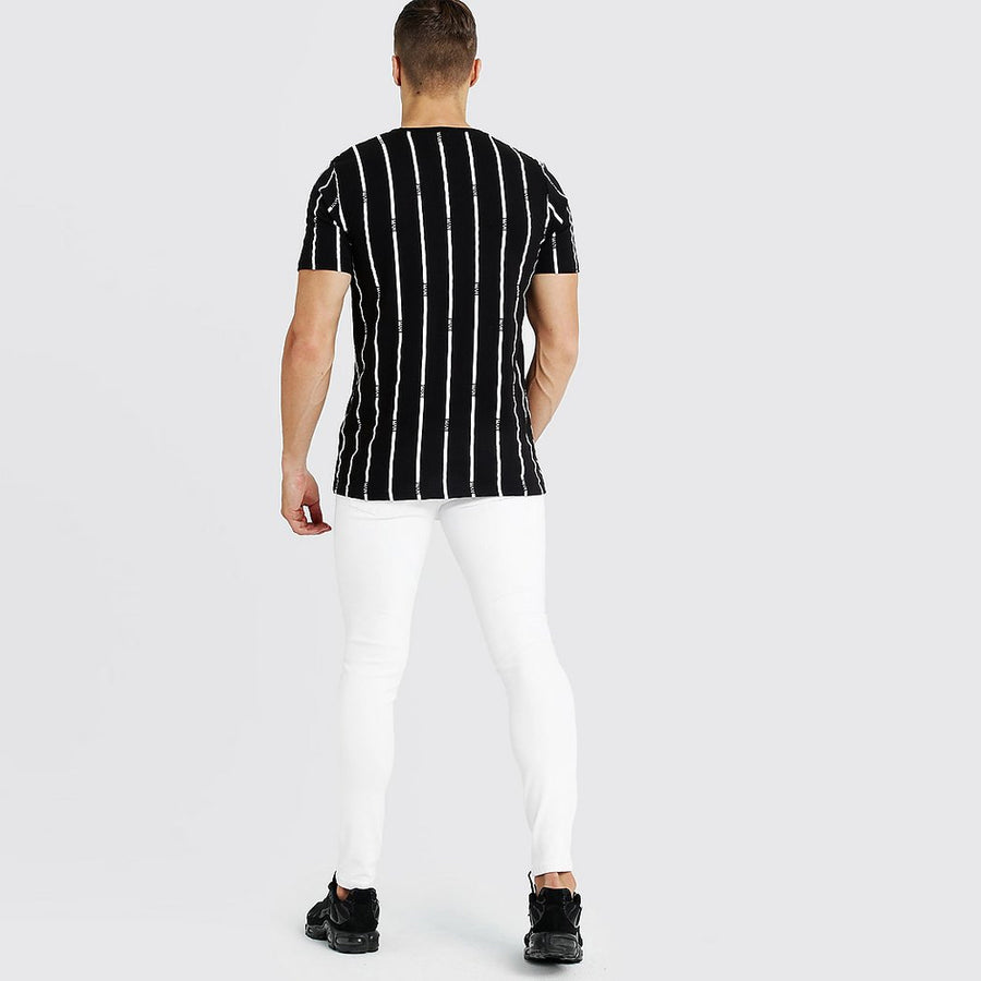 BOOHOO MAN BLACK VERTICAL STRIPES MEN T-SHIRT