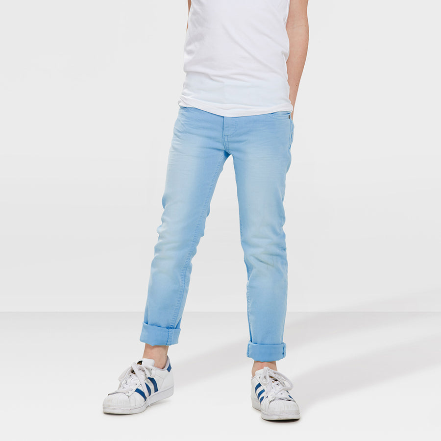 Boys Sky Blue High Stretch Cotton Regular Fit Denim Pent/ Trouser - Big Brands | Small Prices | Exportbrands.pk