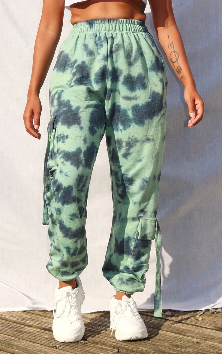 SAGE GREEN TIE DYE CARGO DETAIL CASUAL JOGGERS