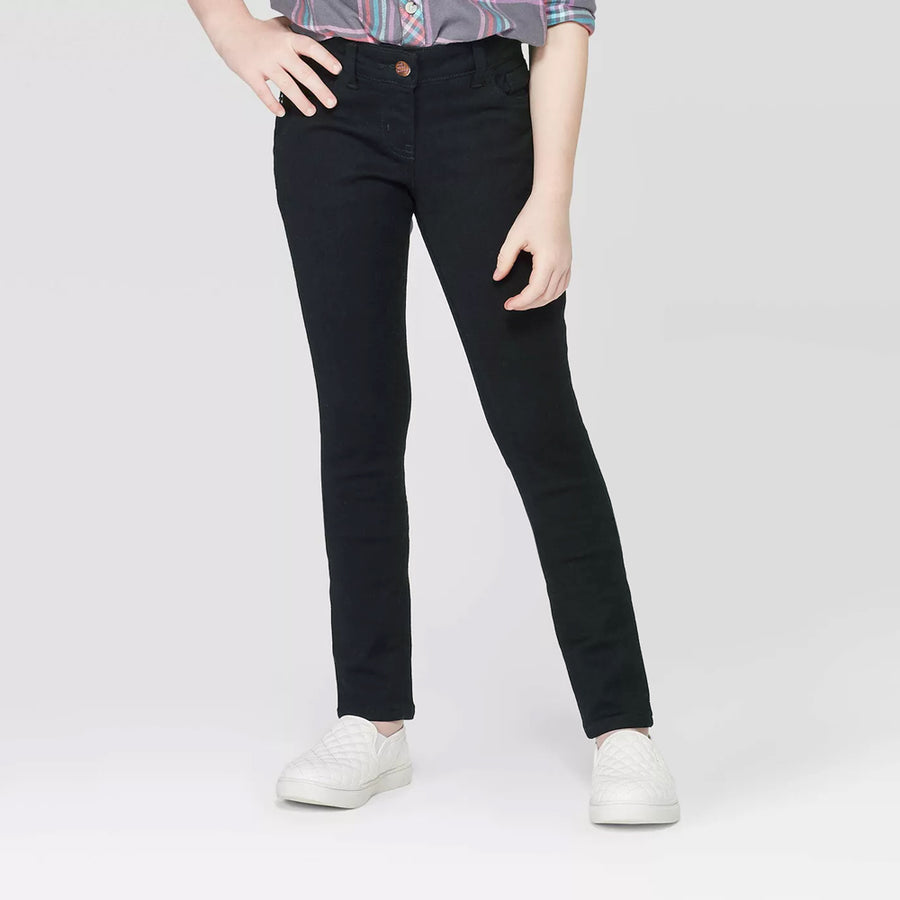Girls Black Skinny Stretch Fit Denim Pent