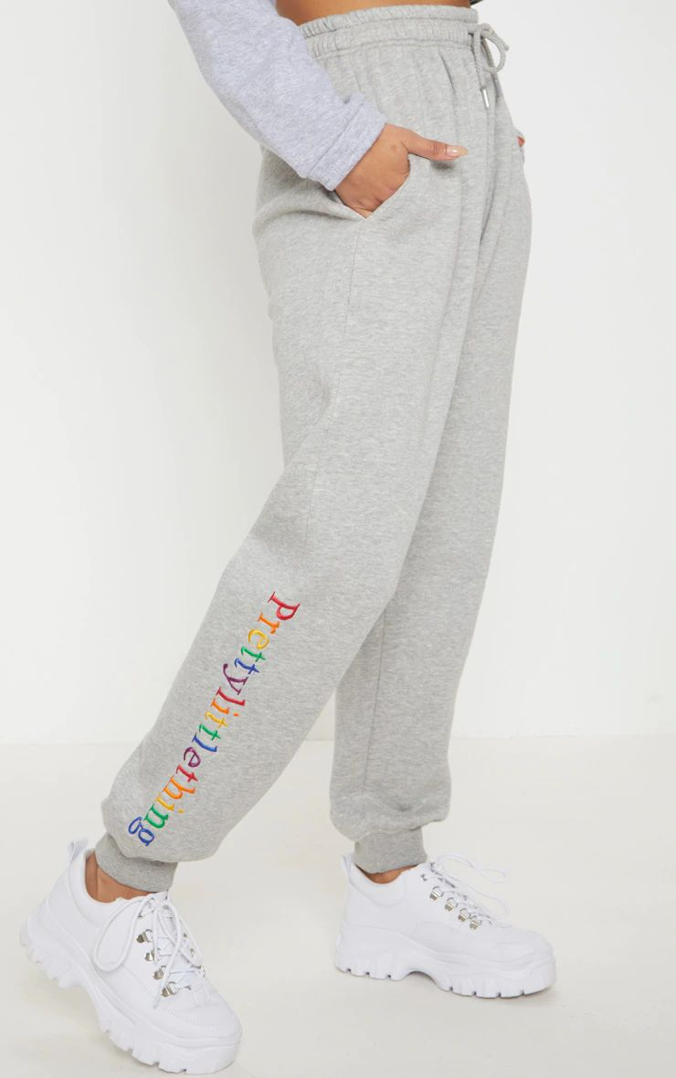 GREY MULTI COLOR EMBROIDERY REGULAR FIT JOGGERS