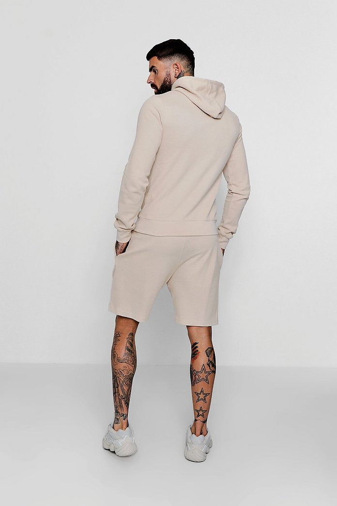 SAND PIQUE HOODED SHORT TRACKSUIT FOR TROPICAL WEATHER