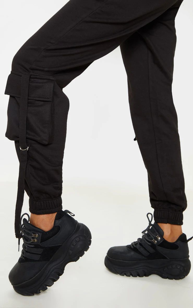 BLACK CARGO DETAIL CASUAL JOGGERS