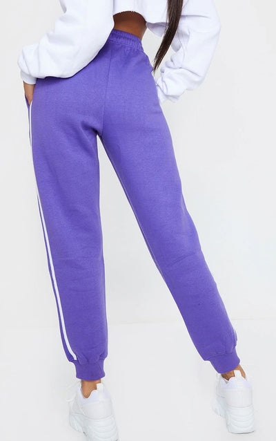 PURPLE DOUBLE SIDE STRIPE JOGGERS
