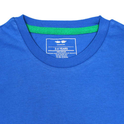KHD Boys Blue Regular Fit T-Shirt 100% Cotton - Big Brands | Small Prices | Exportbrands.pk