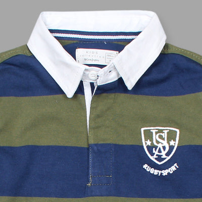 Boys Light Weight Olive Green/Navy Full Sleeves Yarn Dyed Polo Shirt 100% Cotton - Big Brands | Small Prices | Exportbrands.pk