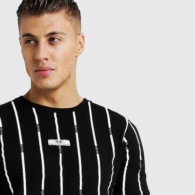 BOOHOO MAN BLACK VERTICAL STRIPES MEN T-SHIRT - Big Brands | Small Prices | Exportbrands.pk