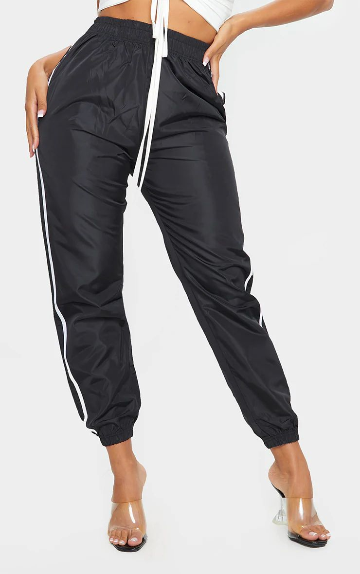 SHAPE BLACK SIDE STRIPE SHELL JOGGERS