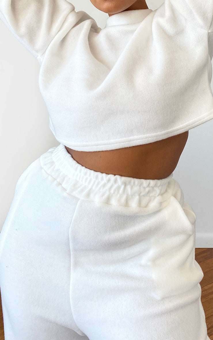 Plus White Brushed Sweat Oversized Joggers