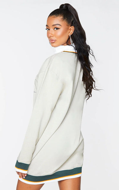 SAGE GREEN USA CONTRAST BINDING OVERSIZED JUMPER DRESS