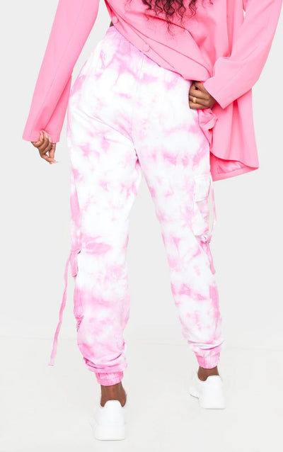 PINK TIE DYE CARGO DETAIL CASUAL JOGGERS
