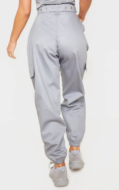 GREY EYELET DETAIL BELTED CARGO TROUSERS 100% TWILL COTTON