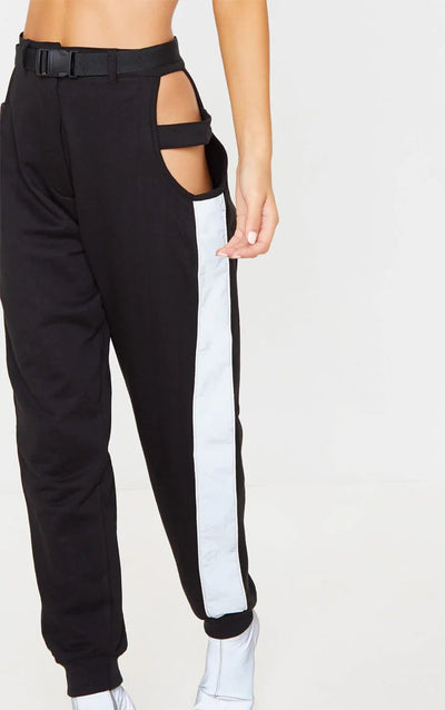 BLACK CUT OUT BELTED JOGGER