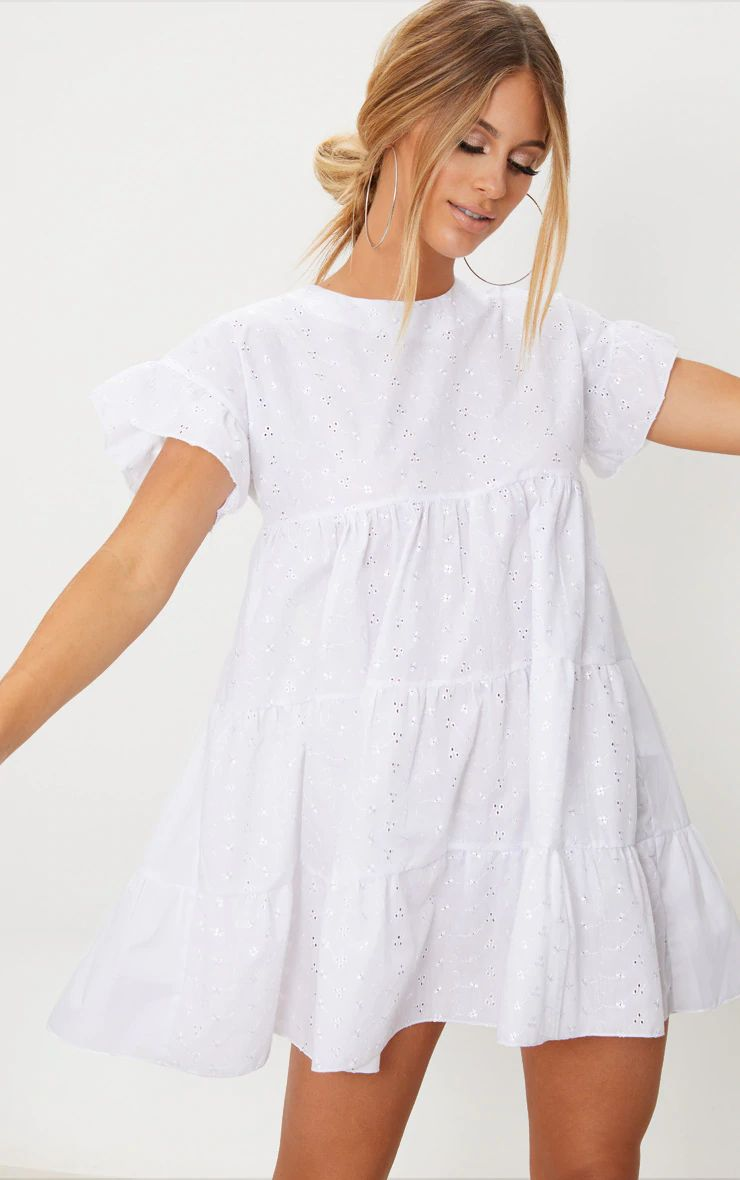 WHITE BRODERIE ANGLAISE SMOCK DRESS 100% COTTON SUMMER/SPRING