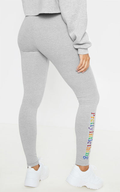 GREY MARL MULTI COLOR EMBROIDERED LEGGING-TIGHTS