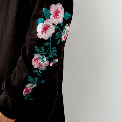 BLACK FLORAL EMBROIDERED SLEEVE JUMPER DRESS - Big Brands | Small Prices