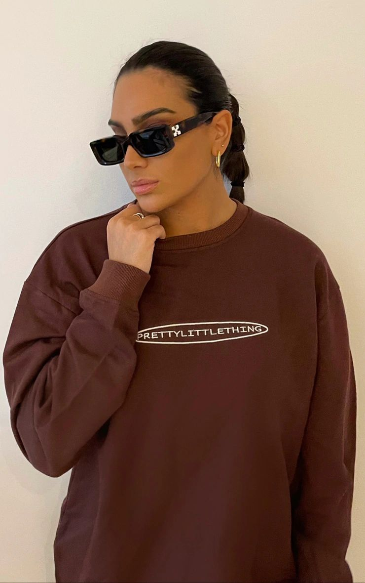 CHOCOLATE EMBROIDERED LONG LENGTH SWEAT JUMPER DRESS