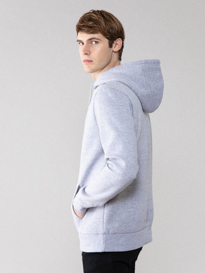 Men Grey Basic Hoodie For Daily Wear
