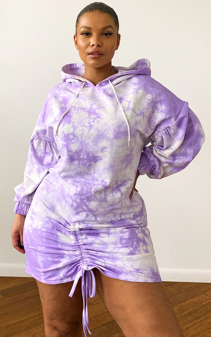 LILAC TIE DYE LONG LENGTH RUCHED HOODED SWEAT DRESS