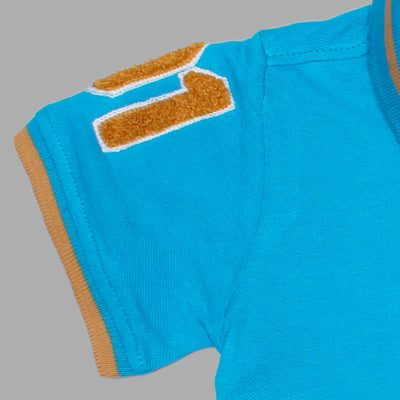 Boys Sky Blue Regular Fit Shenile Embroidered Polo Shirt 100% Cotton - Big Brands | Small Prices | Exportbrands.pk