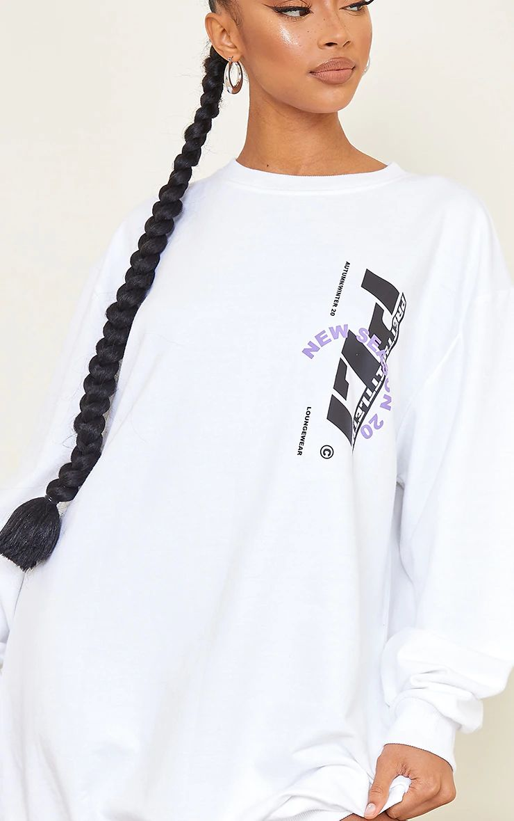 WHITE NEW SEASON SLOGAN JUMPER DRESS