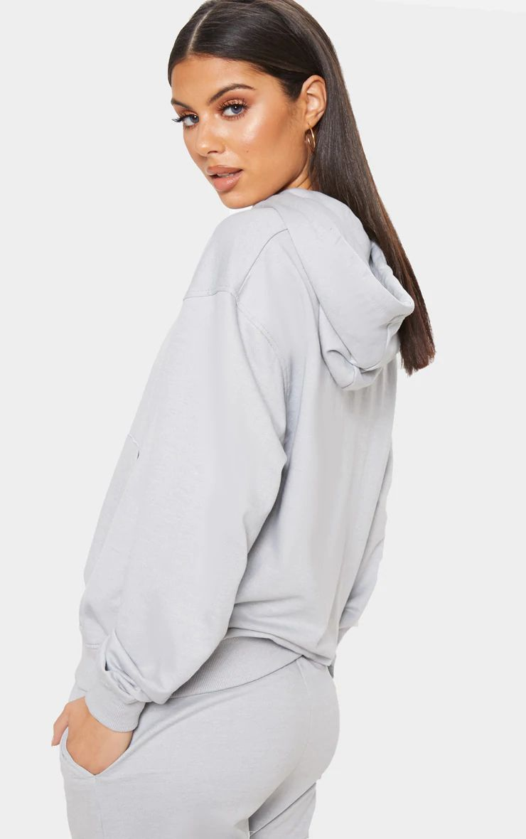 PRETTYLITTLETHING GREY EMBROIDERED OVERSIZED HOODIE