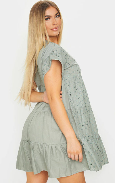 SAGE BRODERIE ANGLAISE SMOCK DRESS 100% COTTON SUMMER/SPRING