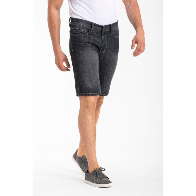 BLACK ACID WASH SUPER STRECH BERMUDA SHORT