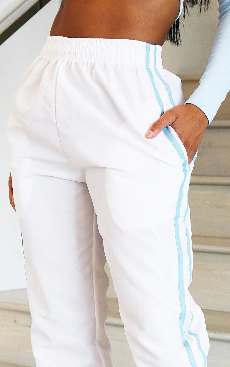 SHAPE WHITE SIDE STRIPE SHELL JOGGERS