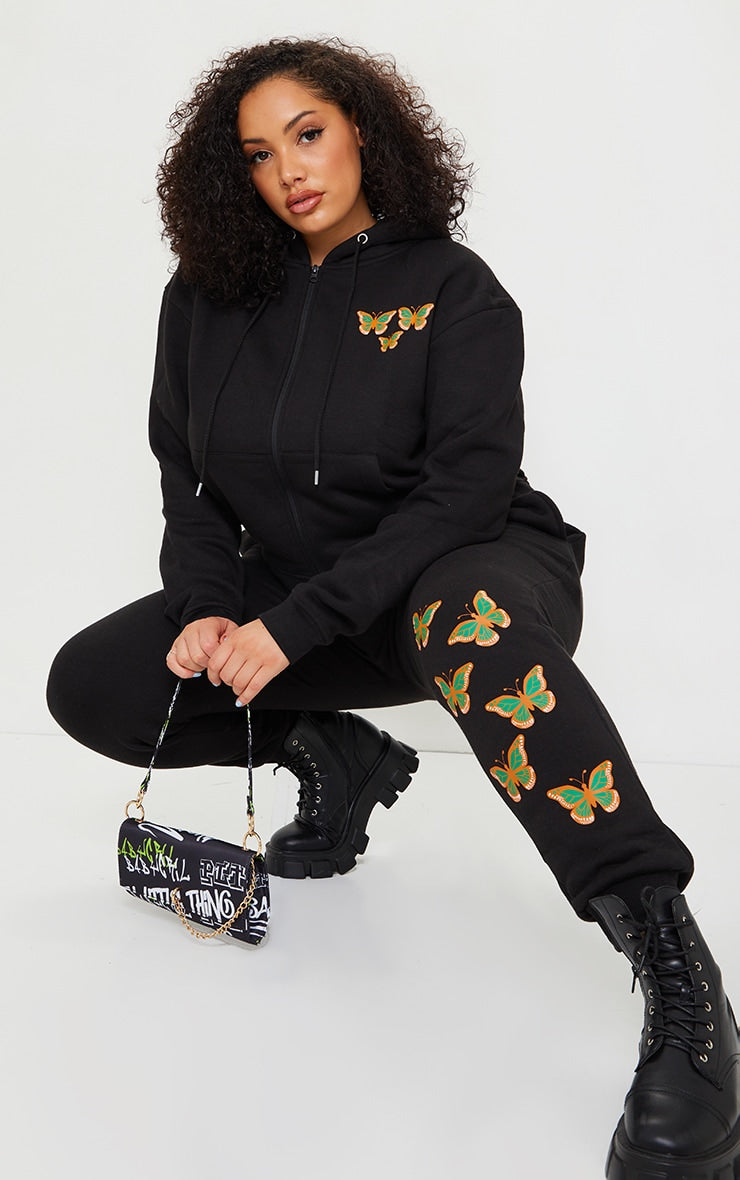 BLACK BIG SIZE BUTTERFLY PRINT ZIP UP HOODIE