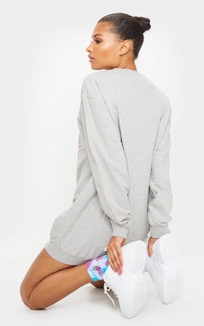 GREY SPARKEL LONG LENGTH SWEAT JUMPER DRESS