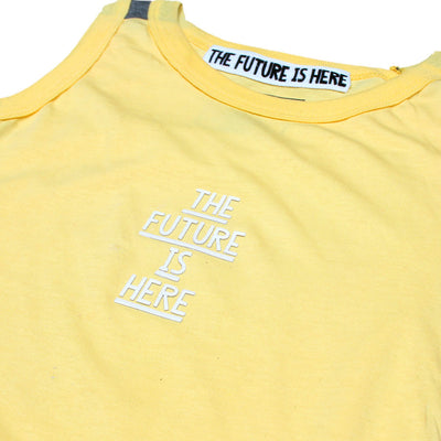 KHD BOYS YELLOW/GREY SLEEVELESS 100% COTTON T-SHIRT - Big Brands | Small Prices | Exportbrands.pk