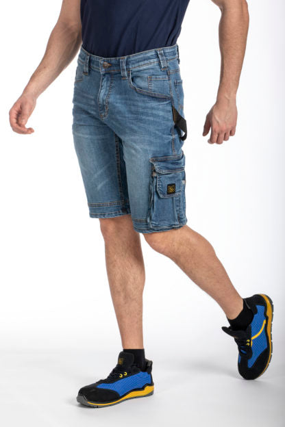 STRETCHED CARGO BERMUDA DENIM SHORT