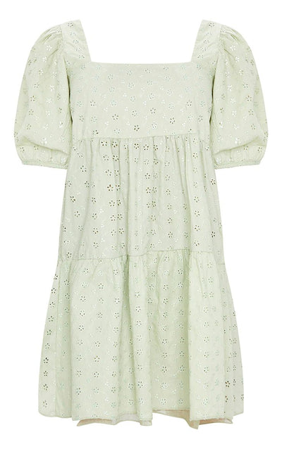 PALE LIME BRODERIE SMOCK DRESS WITH SQUARE NECK 100% COTTON