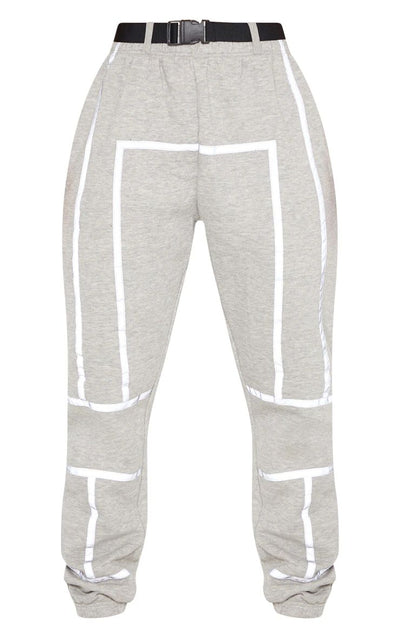 DOVE GREY BELTED REFLECTIVE TAPE CUFFED JOGGER