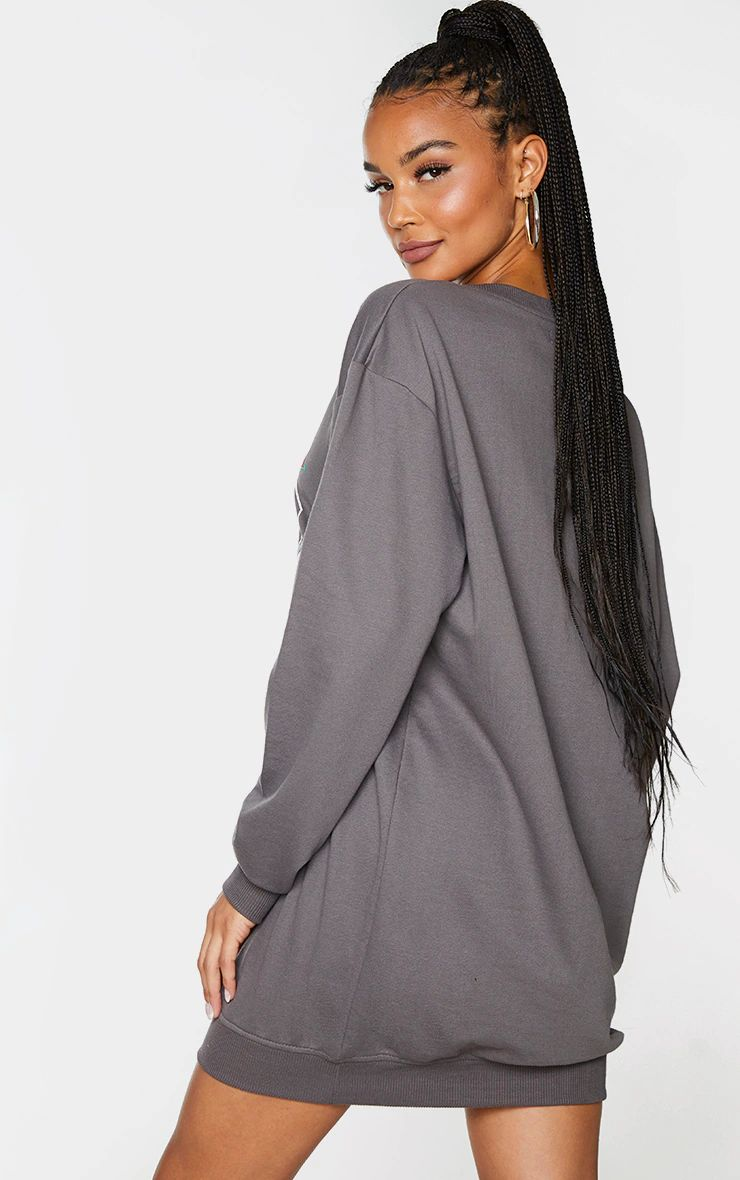 CHARCOAL USA CONTRAST BINDING OVERSIZED JUMPER DRESS